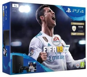 Sony PlayStation FIFA 18 1 TB with FIFA 18 Ultimate Team Icons and Rare Player Pack box art